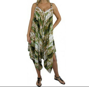 Abstract Snakeskin Jumpsuit Green