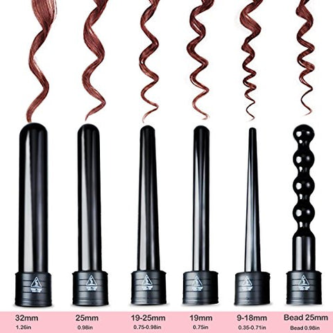 Hair Curling Wand Set 6 in 1 Tourmaline Ceramic Curling Iron for All Curly Hair