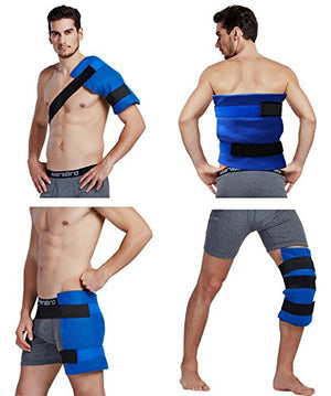 Large Flexible Gel Ice Pack & Wrap with Elastic Straps for Hot Cold Therapy