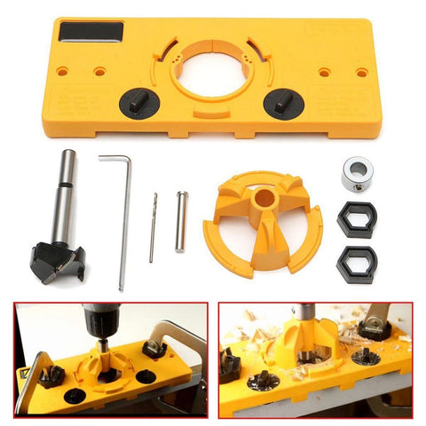 Hinge Drilling Jig Concealed Drill Guide Door Boring Hole Template