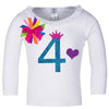Long Sleeve White Birthday 4 Shirt