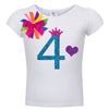 Short Sleeve White Birthday 4 Shirt