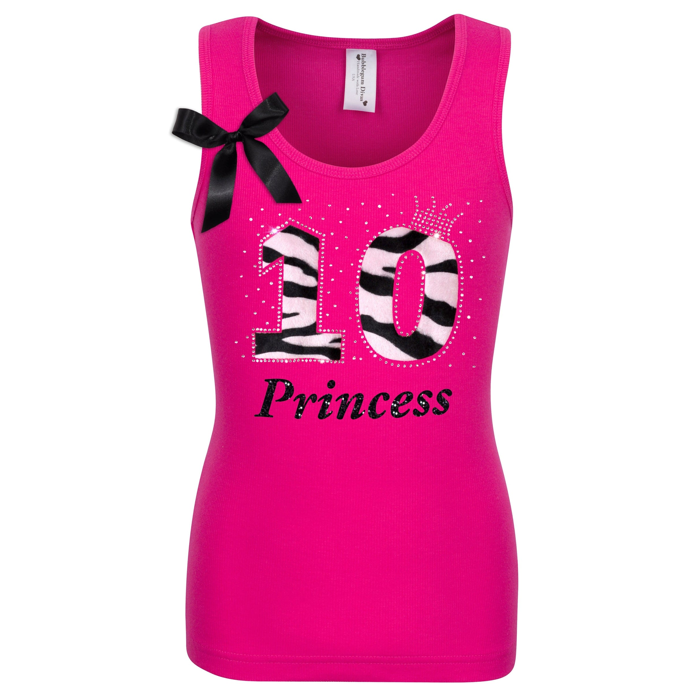 Bubblegum Divas Big Girls 12th Birthday Princess Zebra Print Animal Shirt