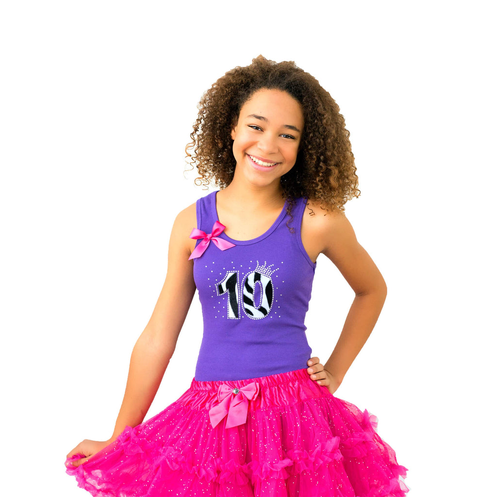 10th Birthday Outfit Purple Zebra - 10th Birthday - Bubblegum Divas Store