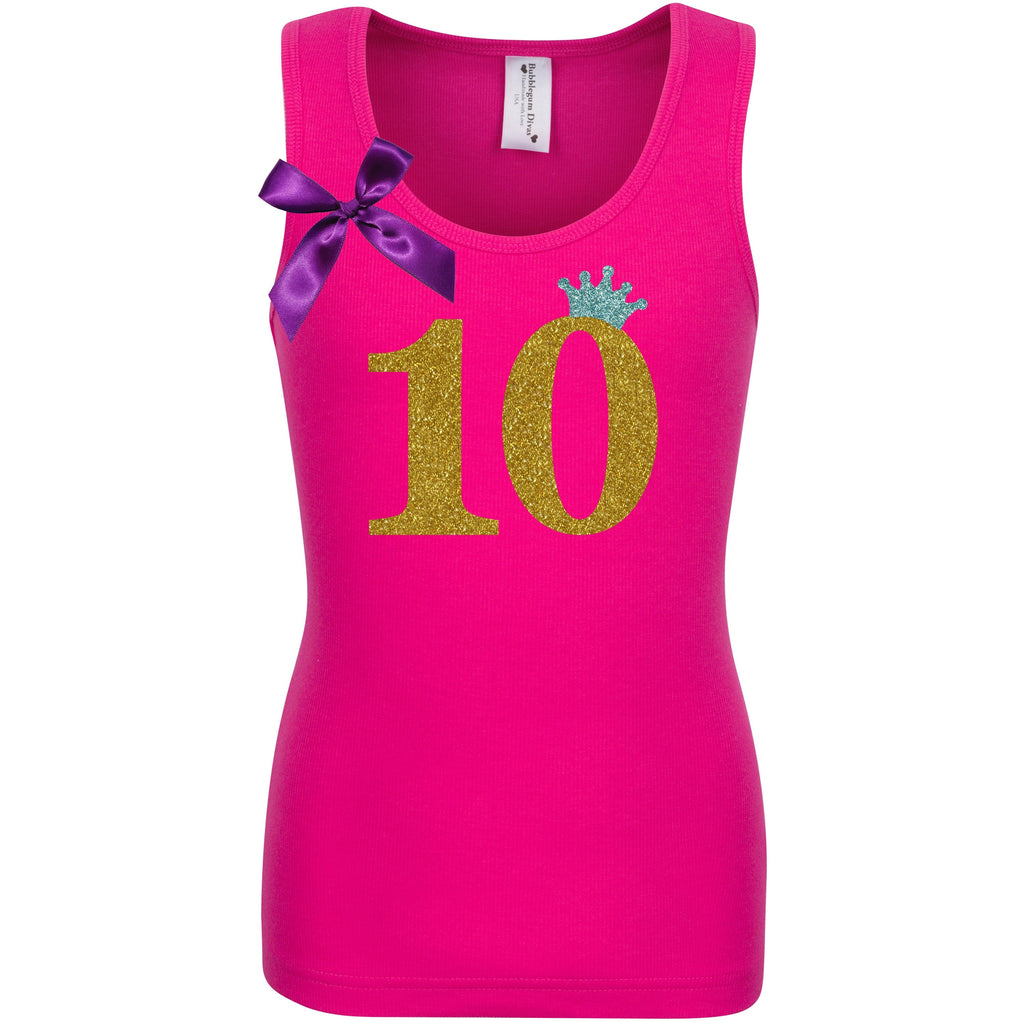 10th Birthday Shirt - Gold Sparkle Diva - Shirt - Bubblegum Divas Store