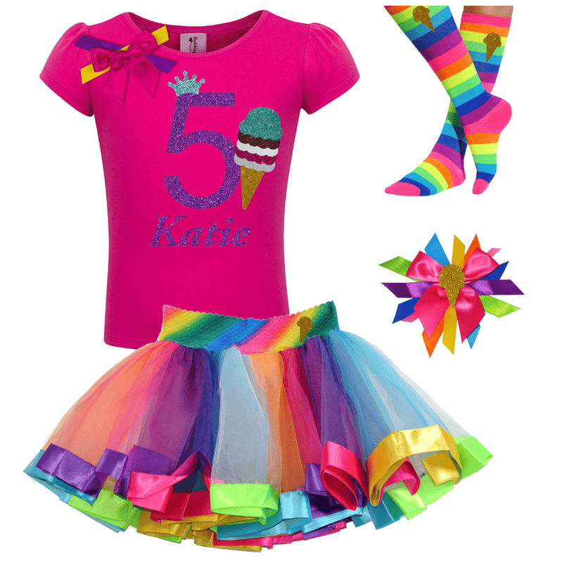 Hot pink ice cream cone shirt, rainbow tutu skirt with birthday number 5