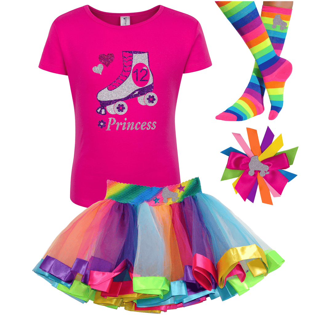 12th Birthday Outfit - Girls  Roller Skate Shirt- Outfit - Bubblegum Divas Store
