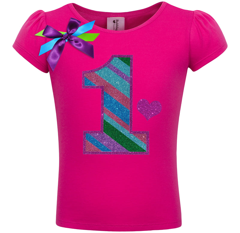 1st Birthday Shirt - Punch Berry Stripes - Shirt - Bubblegum Divas Store