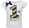 4th Birthday Shirt - Black Gold Stripes