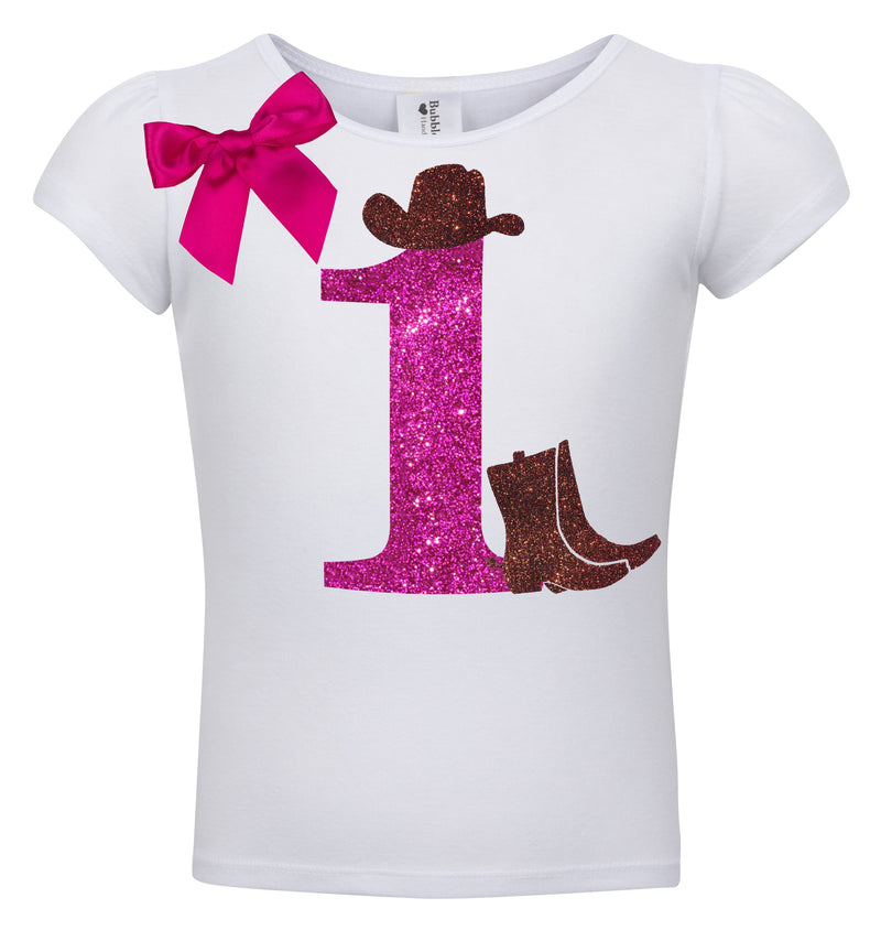 1st Birthday Shirt - Cowgirl Hat - Shirt - Bubblegum Divas Store