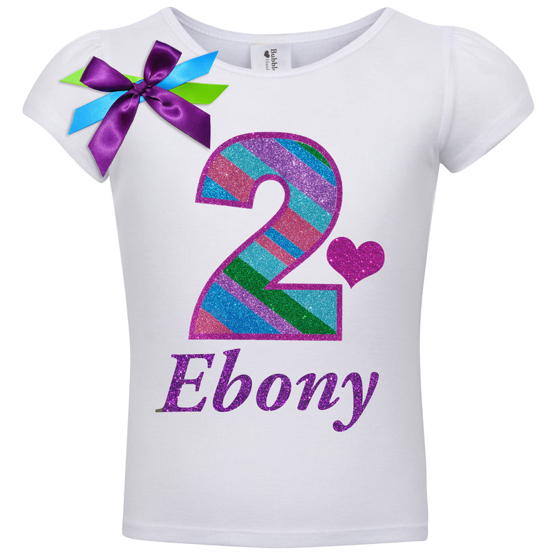 2nd Birthday Shirt - Punch Berry Stripes - Shirt - Bubblegum Divas Store