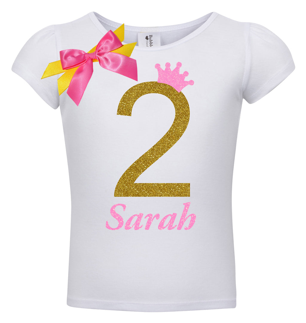 2nd Birthday Shirt - Golden Caramel - Shirt - Bubblegum Divas Store