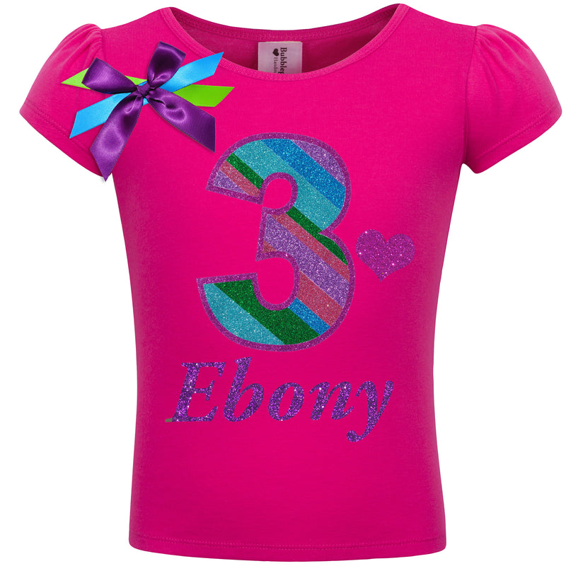 3rd Birthday Shirt - Punch Berry Stripes - Shirt - Bubblegum Divas Store