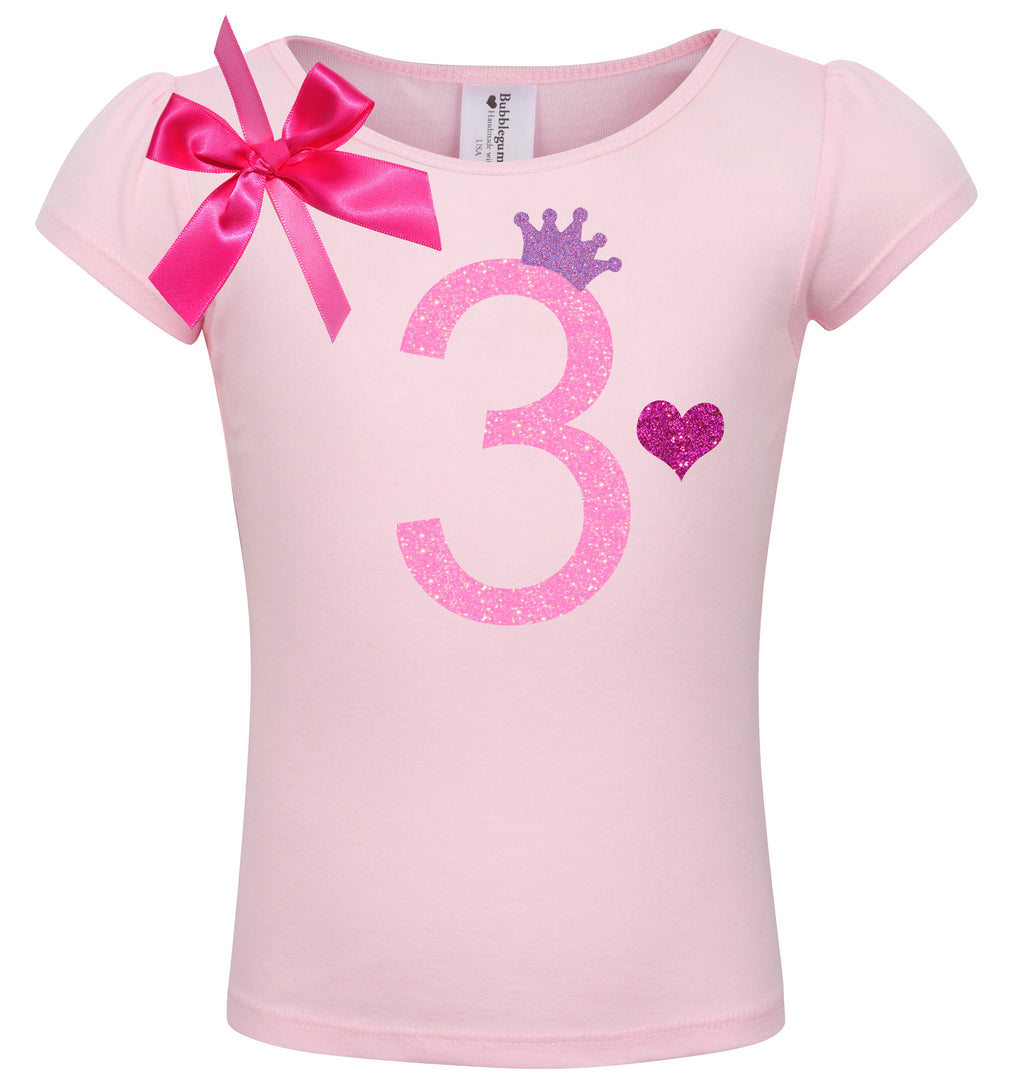 3rd Birthday Shirt - Pink Bubble Sparkle - Shirt - Bubblegum Divas Store
