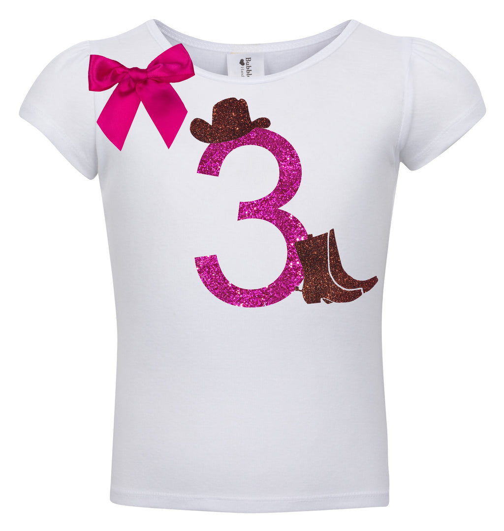 3rd Birthday Shirt - Cowgirl Hat - Shirt - Bubblegum Divas Store