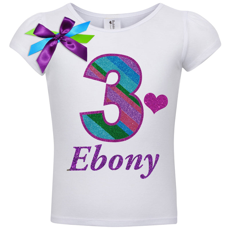 3rd Birthday Shirt Punch Berry Stripes 3 Personalized