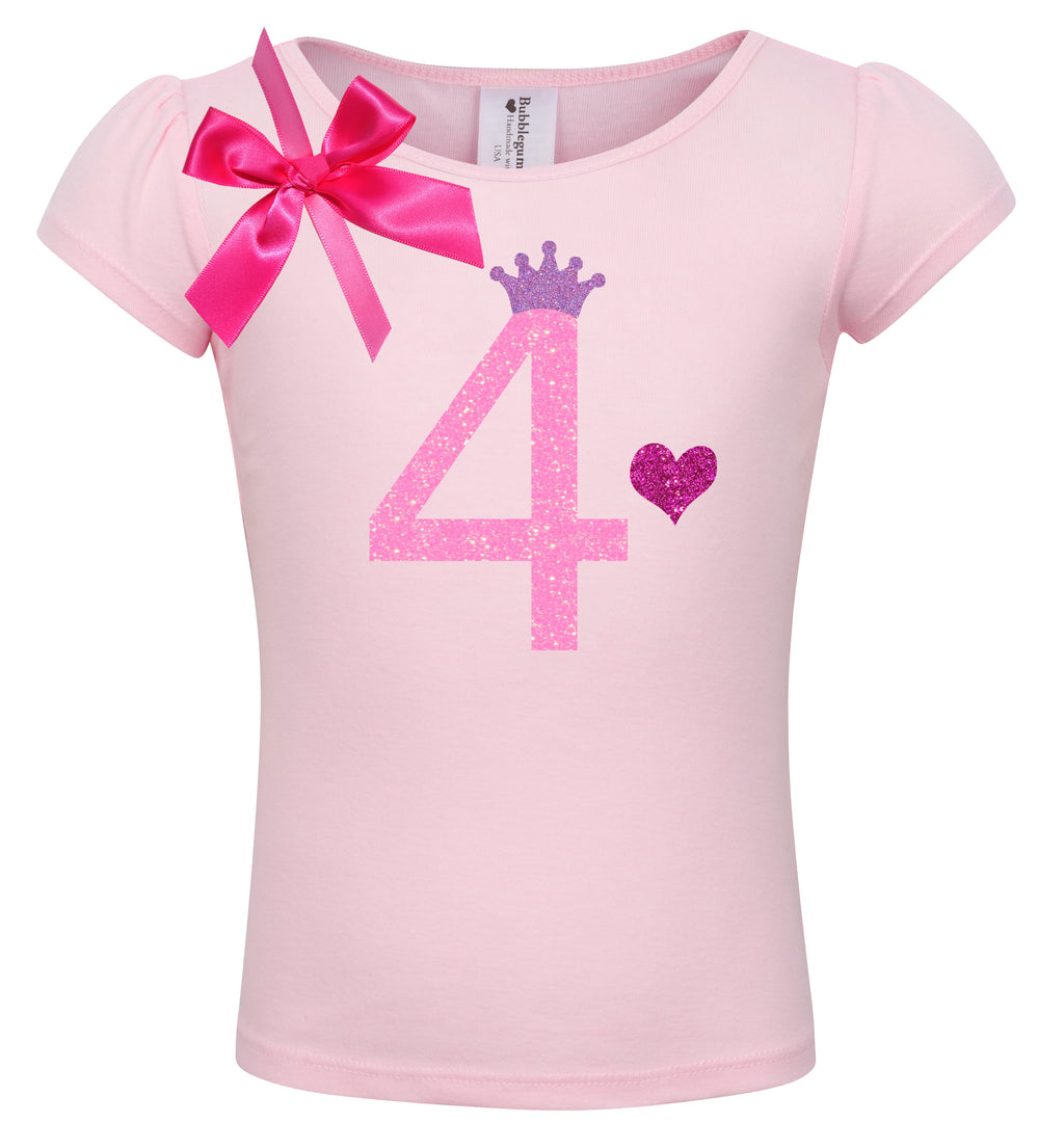 4th Birthday Shirt - Pink Bubble Sparkle - Shirt - Bubblegum Divas Store