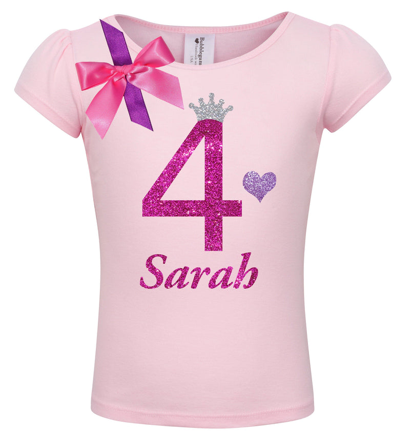 4th Birthday Shirt - Bubble Berry Sparkle - Shirt - Bubblegum Divas Store