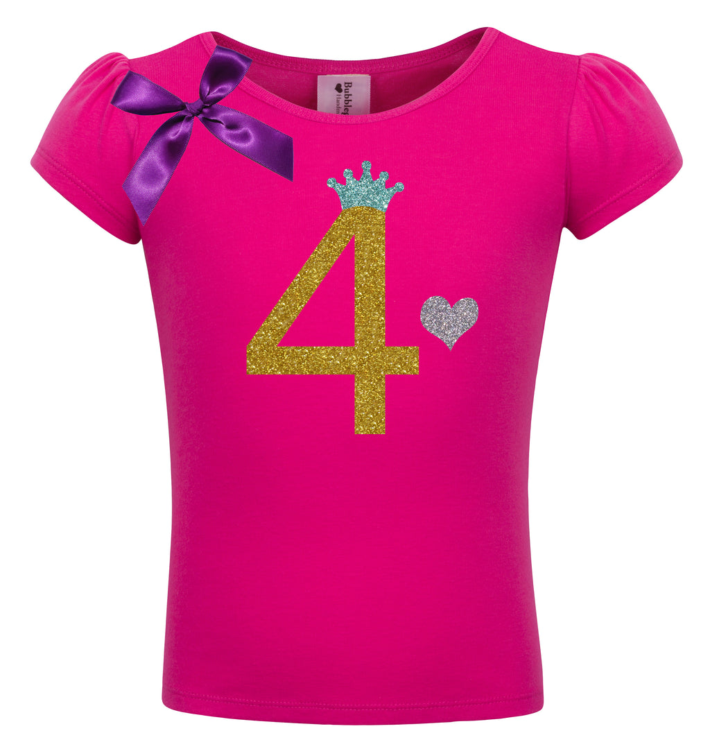 4th Birthday Shirt - Gold Sparkle Diva - Shirt - Bubblegum Divas Store