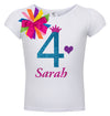 4th Birthday Shirt - Purple Bubble Sparkle