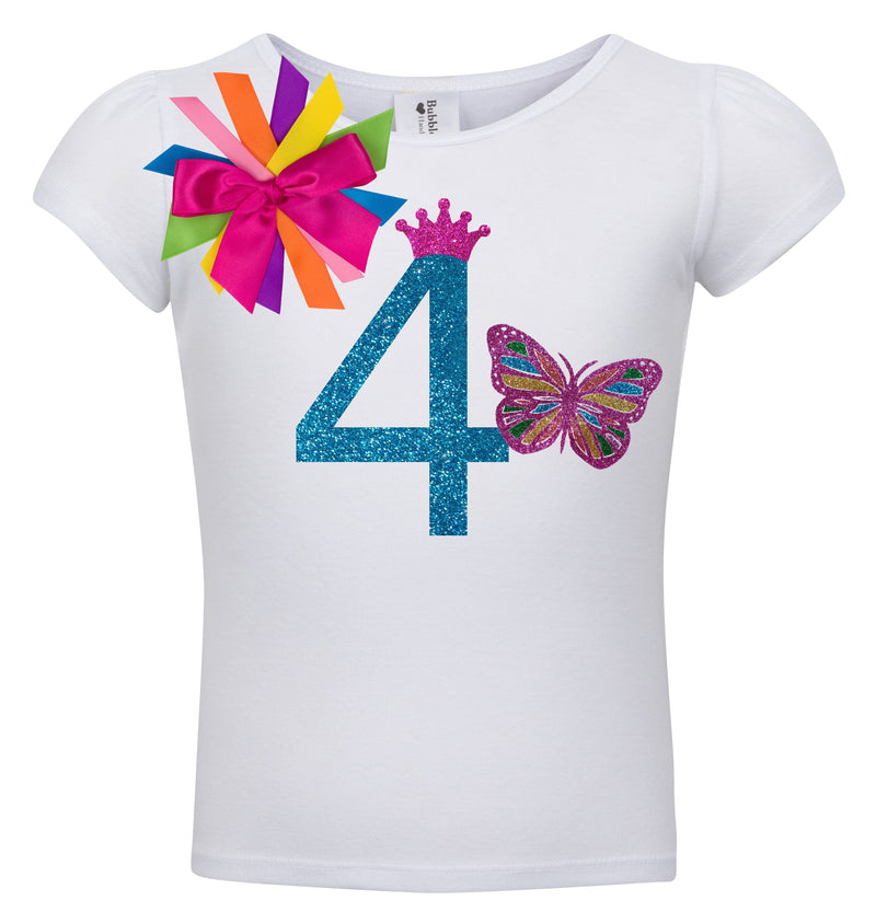 4th Birthday Shirt - Butterfly - Shirt - Bubblegum Divas Store