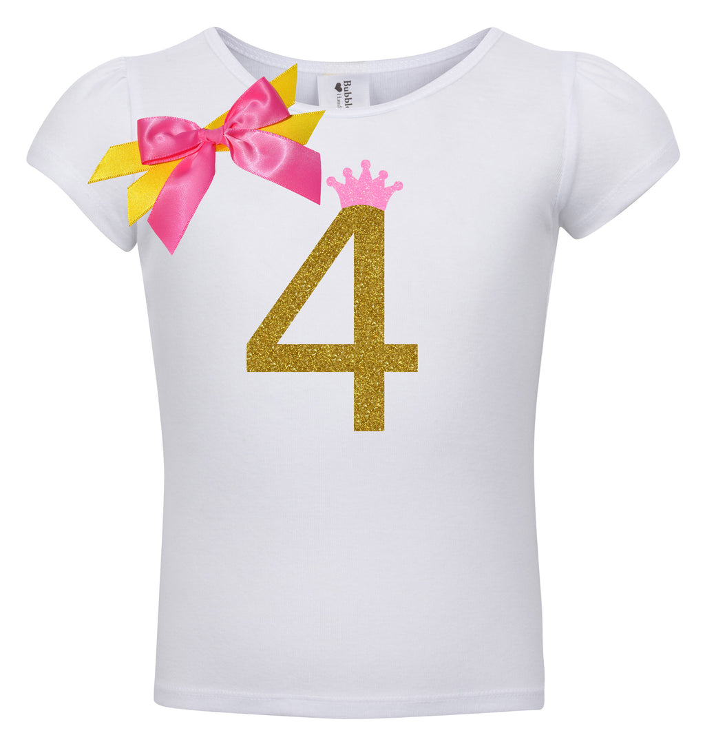 4th Birthday Shirt - Golden Caramel - Shirt - Bubblegum Divas Store
