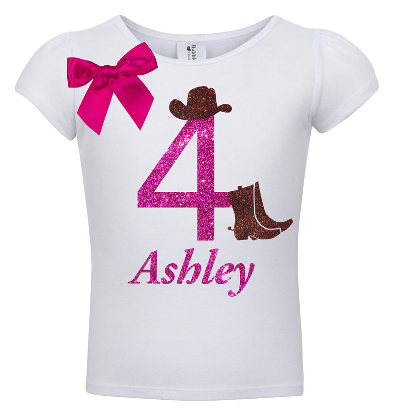 4th Birthday Shirt - Cowgirl Hat - Shirt - Bubblegum Divas Store