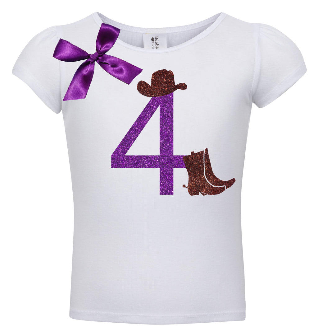 4th Birthday Shirt - Cowgirl Boots - Shirt - Bubblegum Divas Store