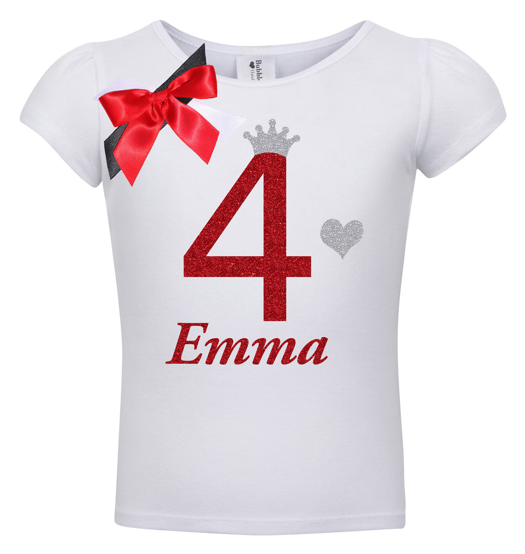 4th Birthday Shirt - Red Cherry Dazzle - Shirt - Bubblegum Divas Store