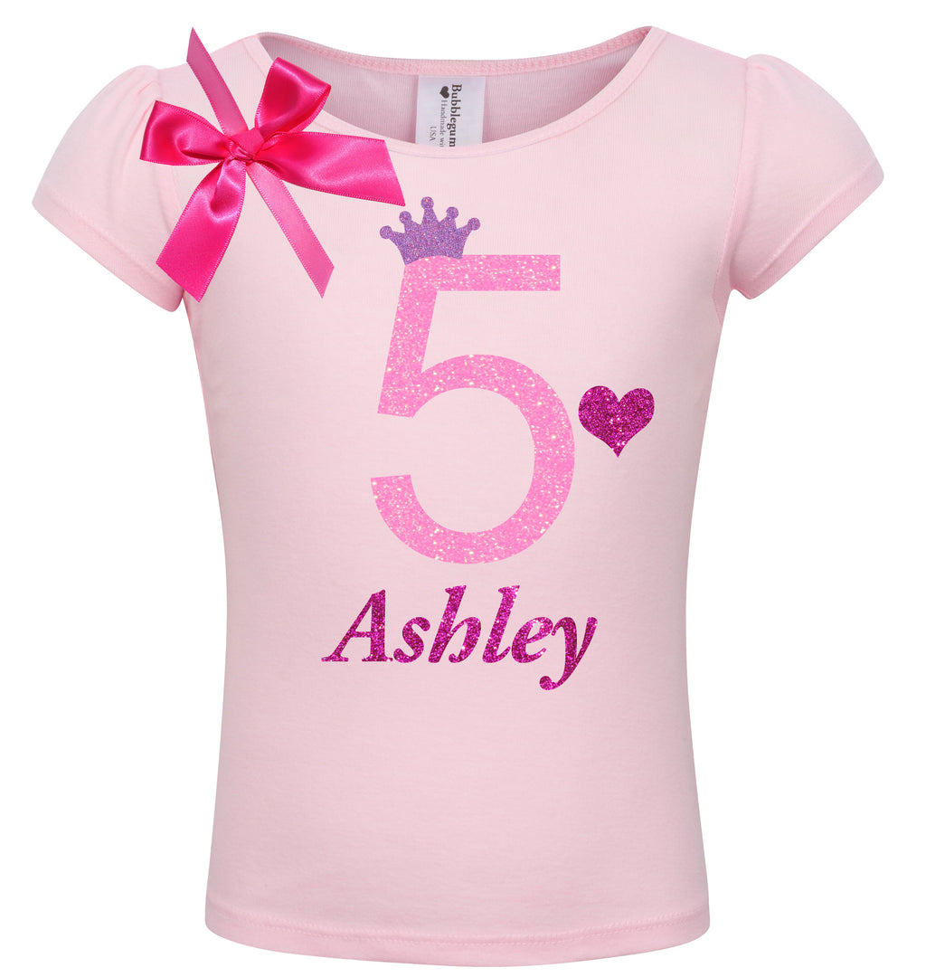 5th Birthday Shirt - Pink Bubble Sparkle - Shirt - Bubblegum Divas Store
