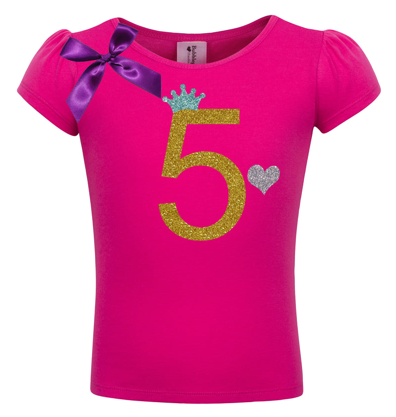 5th Birthday Shirt - Gold Sparkle Diva - Shirt - Bubblegum Divas Store
