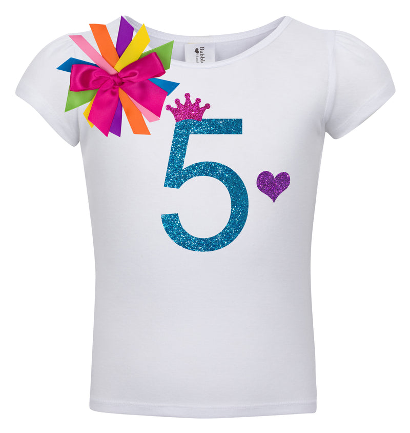 5th Birthday Shirt - Blue Cherry Twist - Shirt - Bubblegum Divas Store