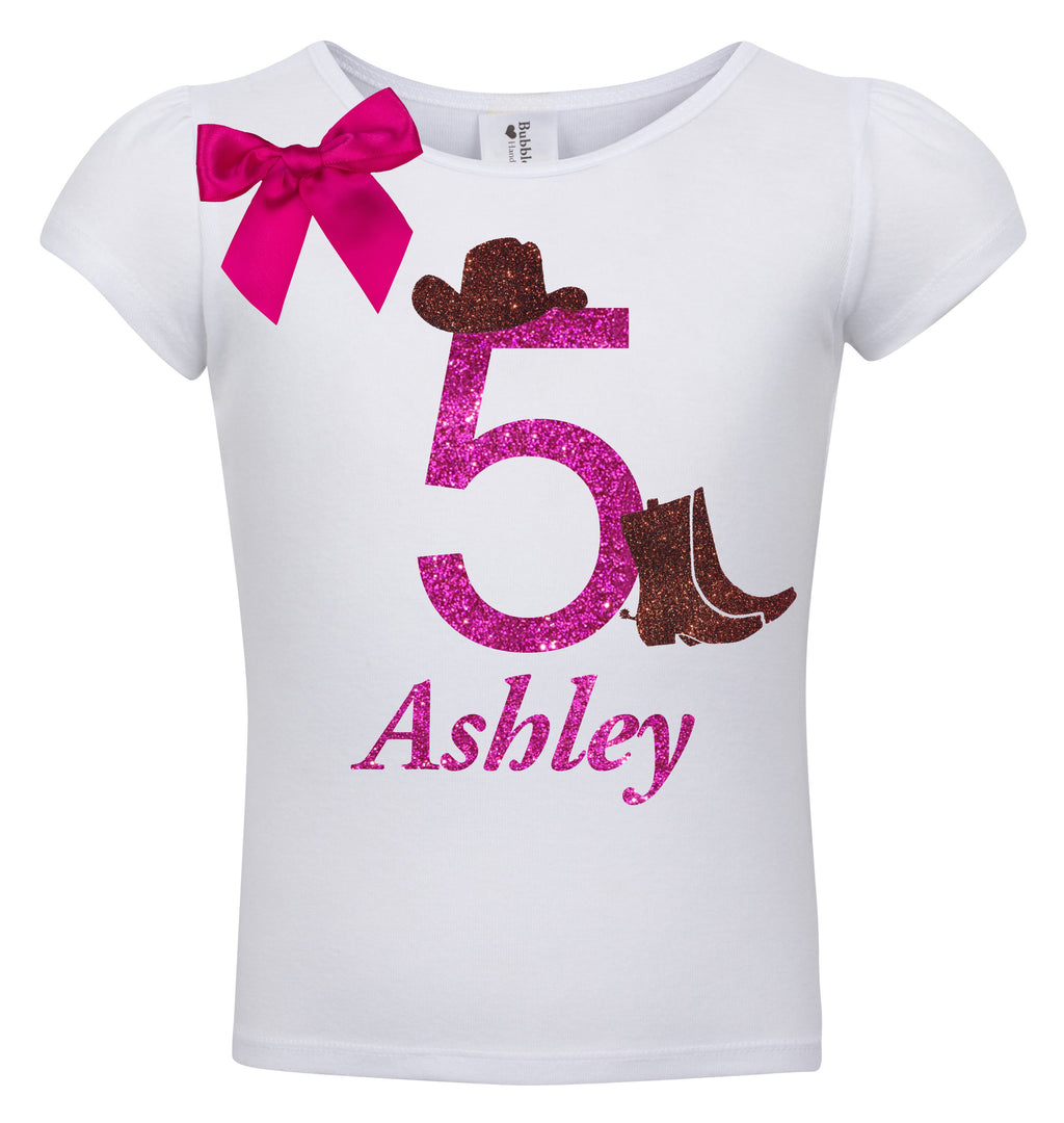 5th Birthday Shirt - Cowgirl Boots - Shirt - Bubblegum Divas Store