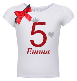 5th Birthday Shirt - Red Cherry Dazzle - Shirt - Bubblegum Divas Store