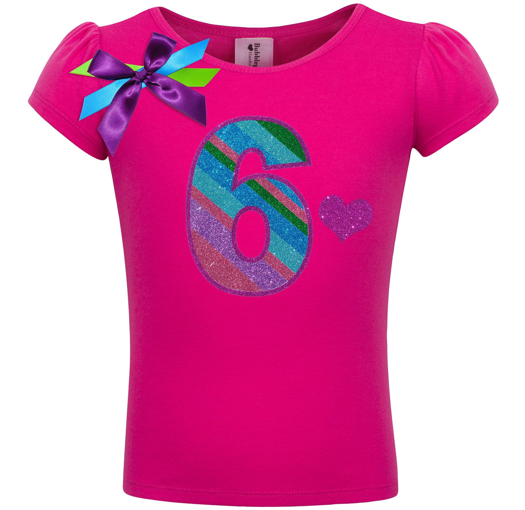 6th Birthday Shirt - Punch Berry Stripes - Shirt - Bubblegum Divas Store