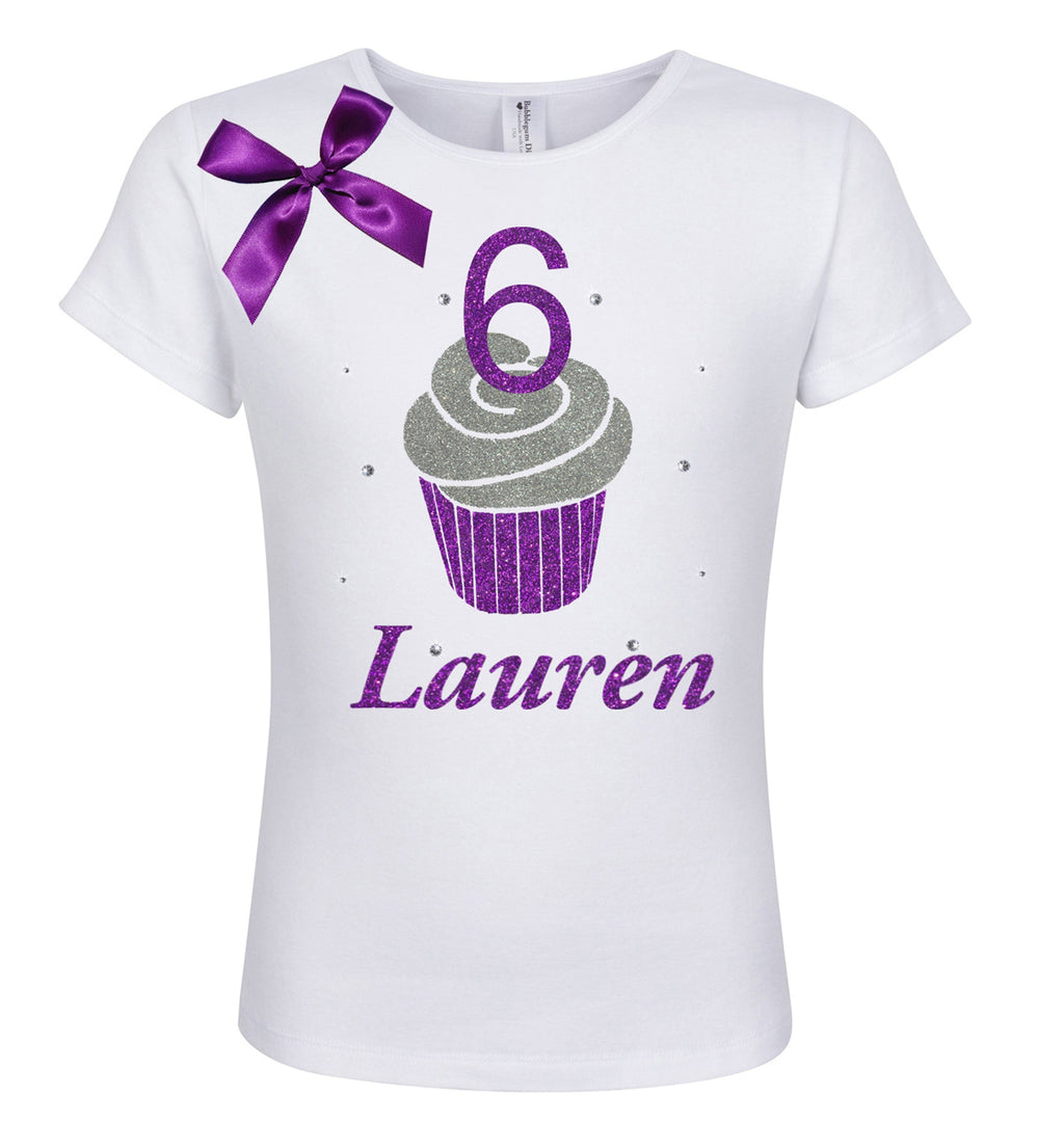 6th Birthday Purple Cupcake Shirt - Shirt - Bubblegum Divas Store