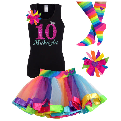 10th Birthday Outfit Hot Pink Glitter Personalized 10