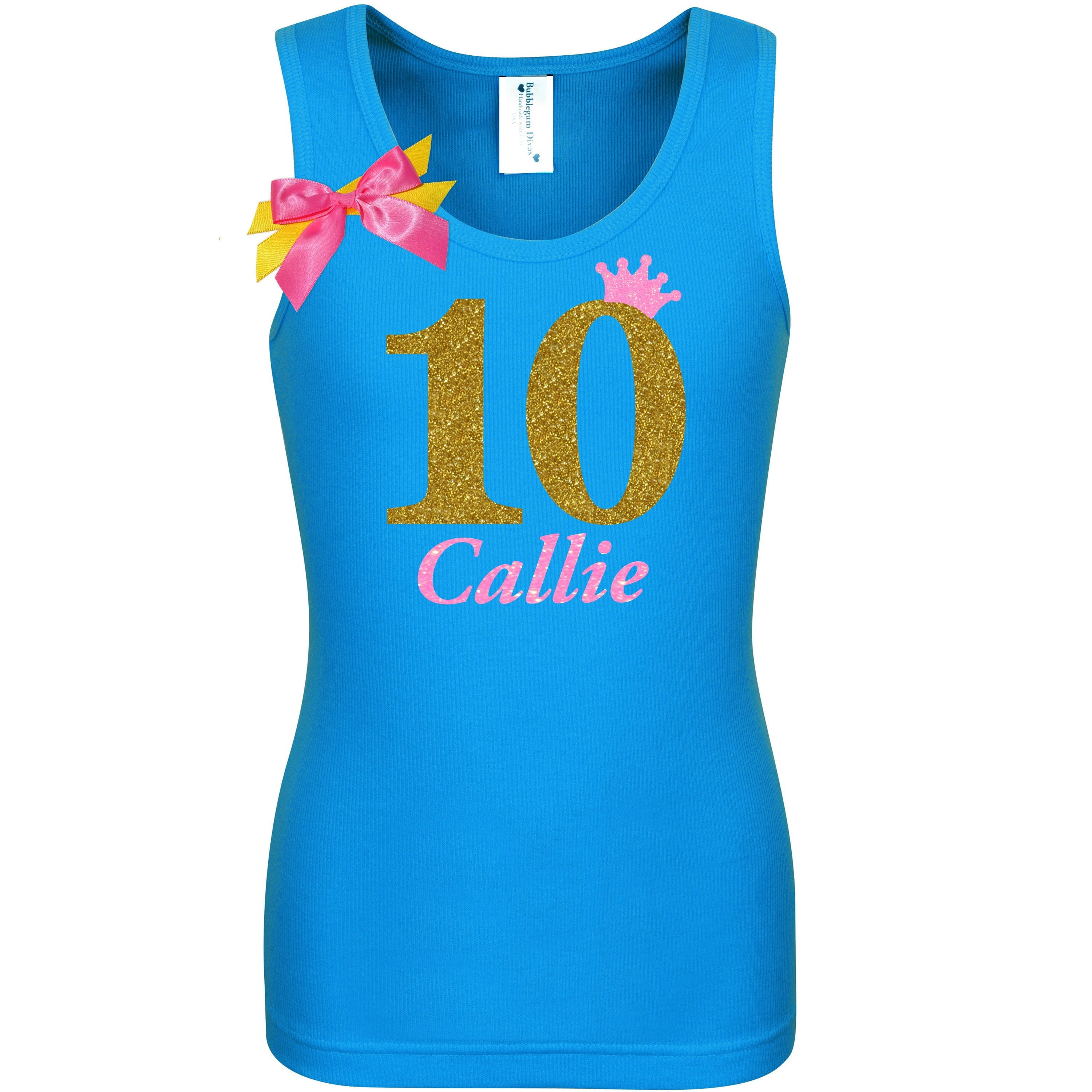 10th Birthday Girl Shirt Gold 10 Girls White Tank Top Personalized Name Neon Glow Party