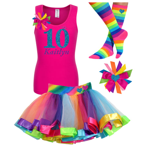 9th Birthday Shirt Gold Glitter Girls Rainbow Tutu Party Outfit 4PC Set 9