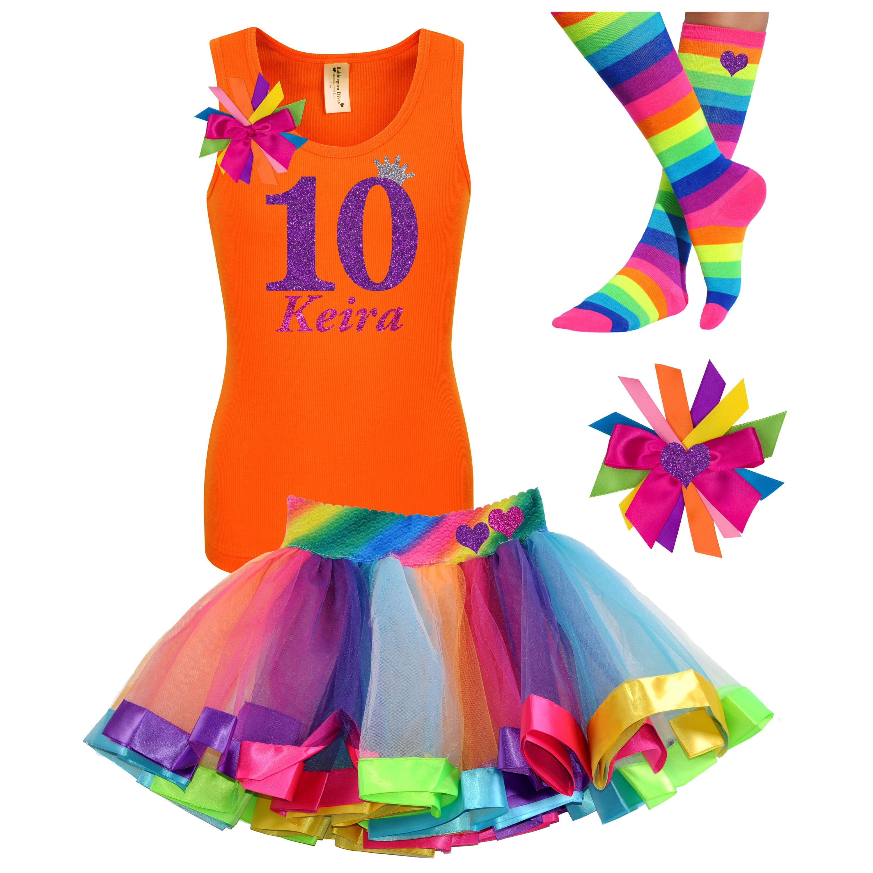 10th Birthday Outfit Purple Glitter Personalized 10