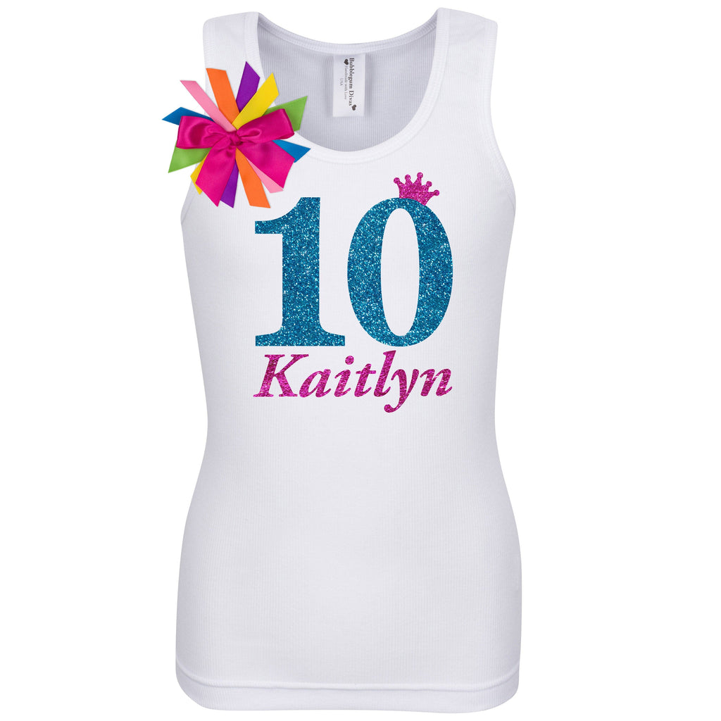10th Birthday Shirt - Blue Cherry Twist - Shirt - Bubblegum Divas Store