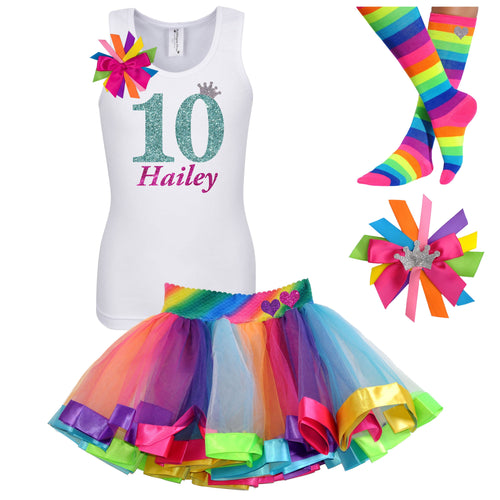 10th Birthday Shirt Jade Glitter Girls Rainbow Tutu Party Outfit 4PC Set - Outfit - Bubblegum Divas Store