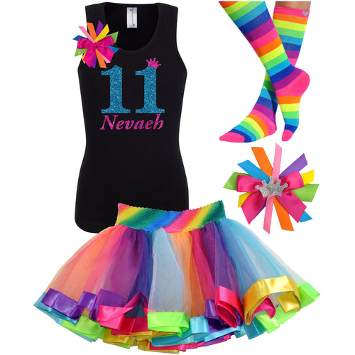 11th Birthday Shirt Blue Glitter Girls Rainbow Tutu Party Outfit 4PC Set