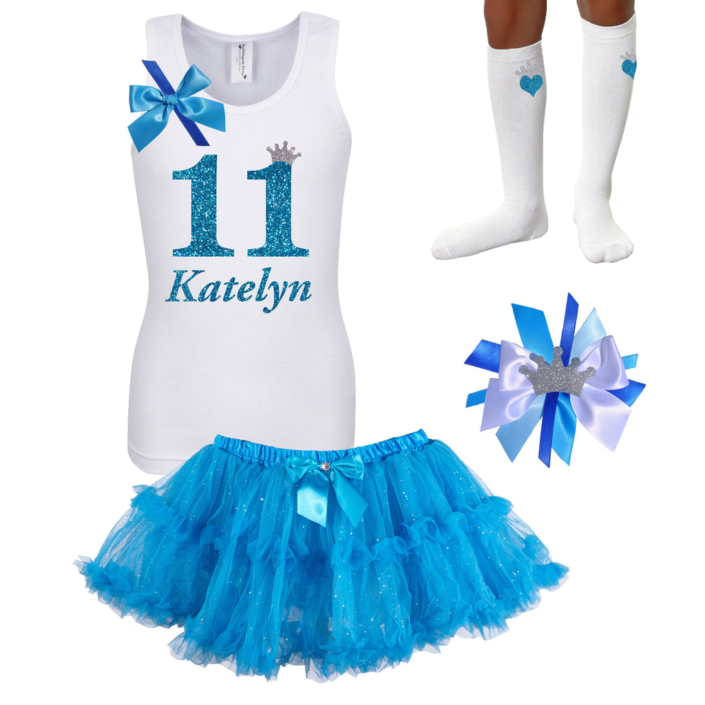 11th Birthday Girl - White Shirt Blue Tutu Outfit - Bubblegum Divas Store