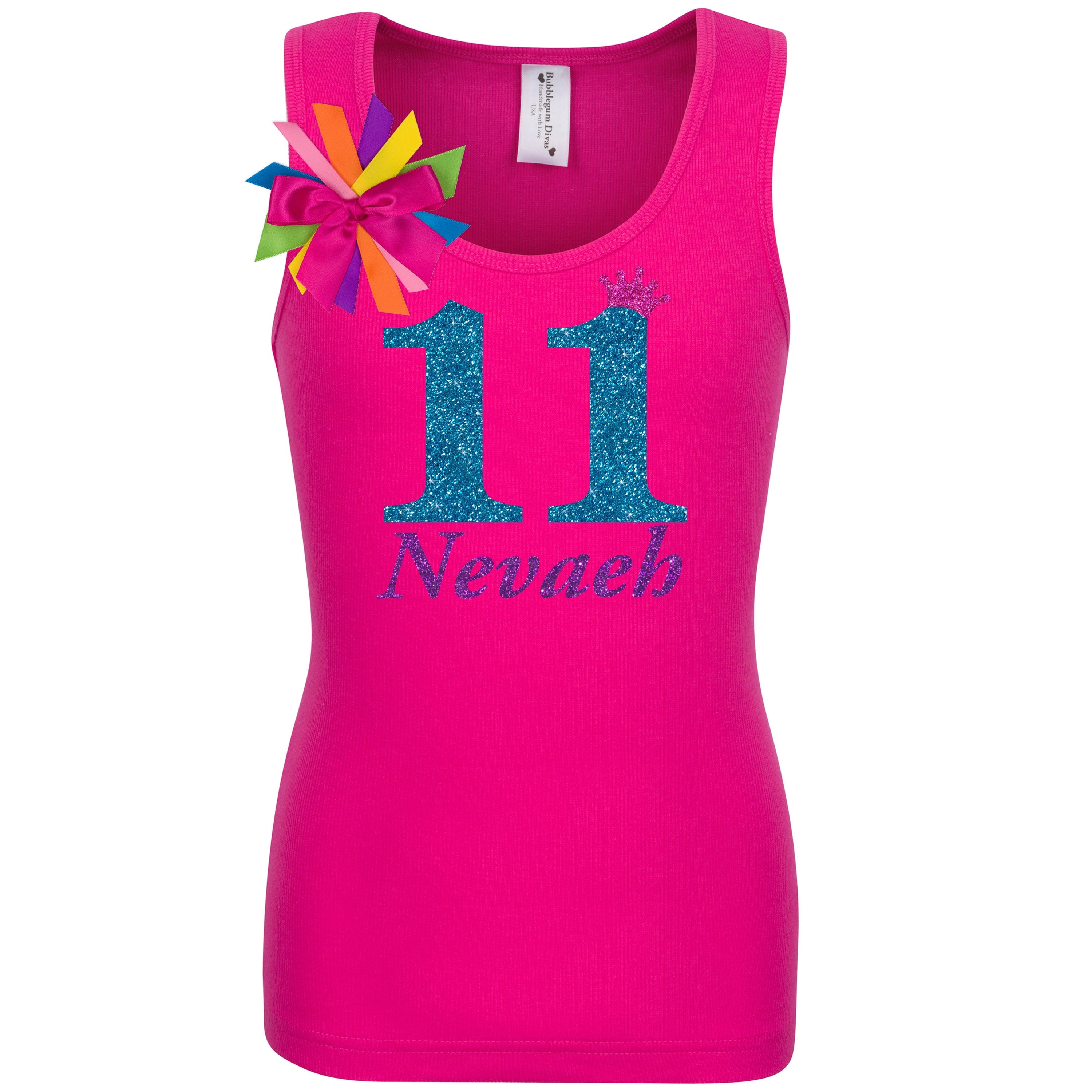 11th Birthday Shirt Blue Glitter Eleven Personalized 11 - Shirt - Bubblegum Divas Store