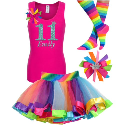 11th Birthday Shirt Jade Glitter Girls Rainbow Tutu Party Outfit 4PC Set