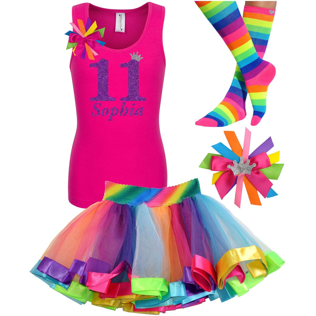 11th Birthday Girl - Pink Rainbow Outfit - Bubblegum Divas Store