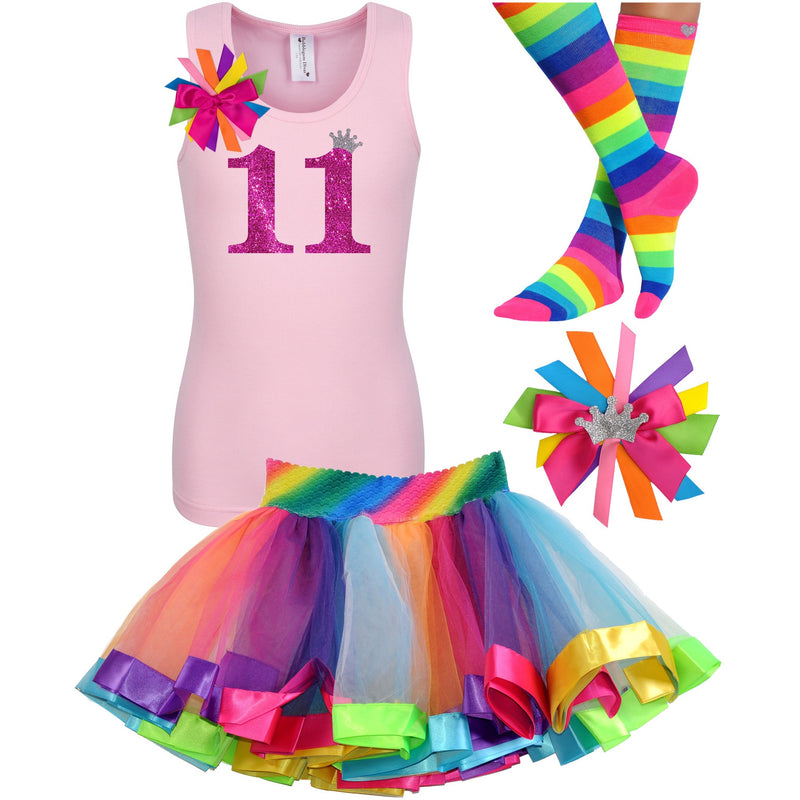 11th Birthday Shirt Rainbow Tween Girls Party Outfit - Outfit - Bubblegum Divas Store