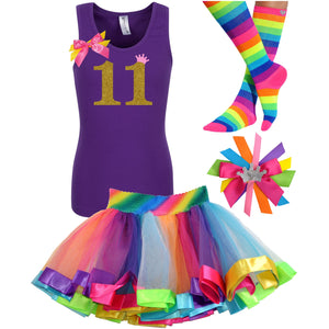 11th Birthday Shirt Gold Glitter Girls Rainbow Tutu Party Outfit - Outfit - Bubblegum Divas Store