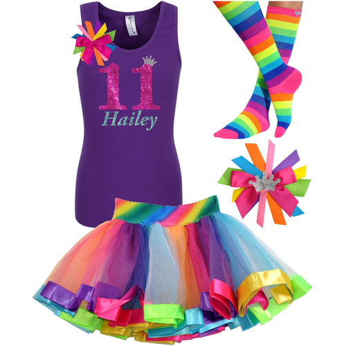 11th Birthday Shirt Hot Pink Glitter Girls Rainbow Tutu Party Outfit 4PC Set